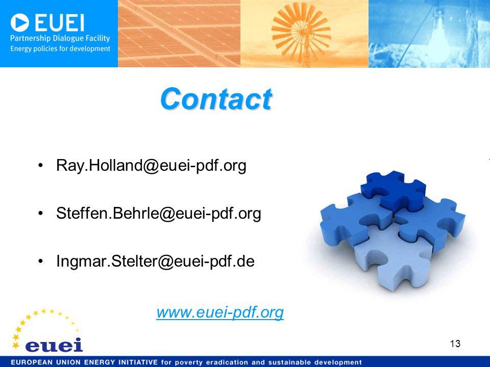 13 Ray.Holland@euei-pdf.org Steffen.Behrle@euei-pdf.org Ingmar.Stelter@euei-pdf.de www.euei-pdf.org Contact