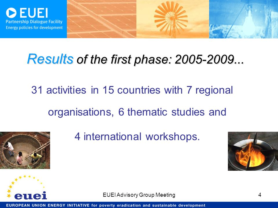 EUEI Advisory Group Meeting4 31 activities in 15 countries with 7 regional organisations, 6 thematic studies and 4 international workshops. Results of