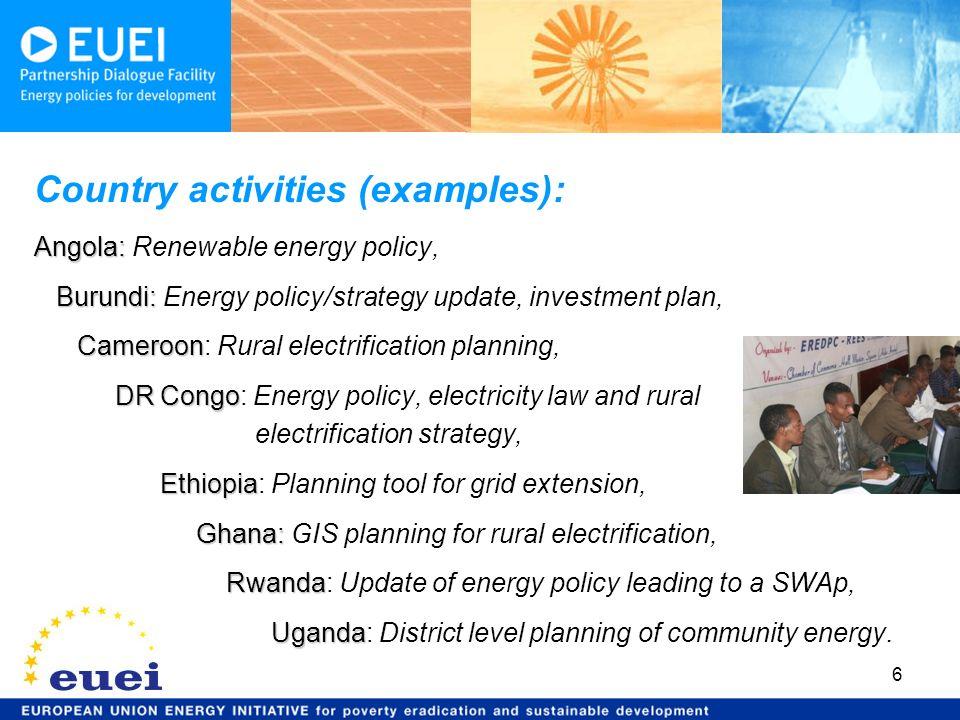 6 Country activities (examples): Angola: Angola: Renewable energy policy, Burundi: Burundi: Energy policy/strategy update, investment plan, Cameroon C