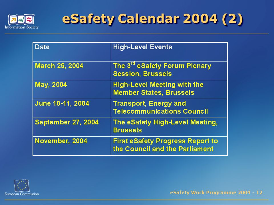 eSafety Work Programme 2004 - 12 eSafety Calendar 2004 (2)