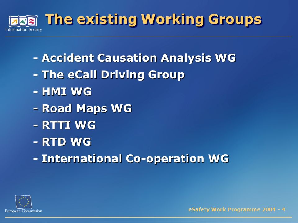 eSafety Work Programme 2004 - 4 The existing Working Groups The existing Working Groups - Accident Causation Analysis WG - The eCall Driving Group - HMI WG - Road Maps WG - RTTI WG - RTD WG - International Co-operation WG