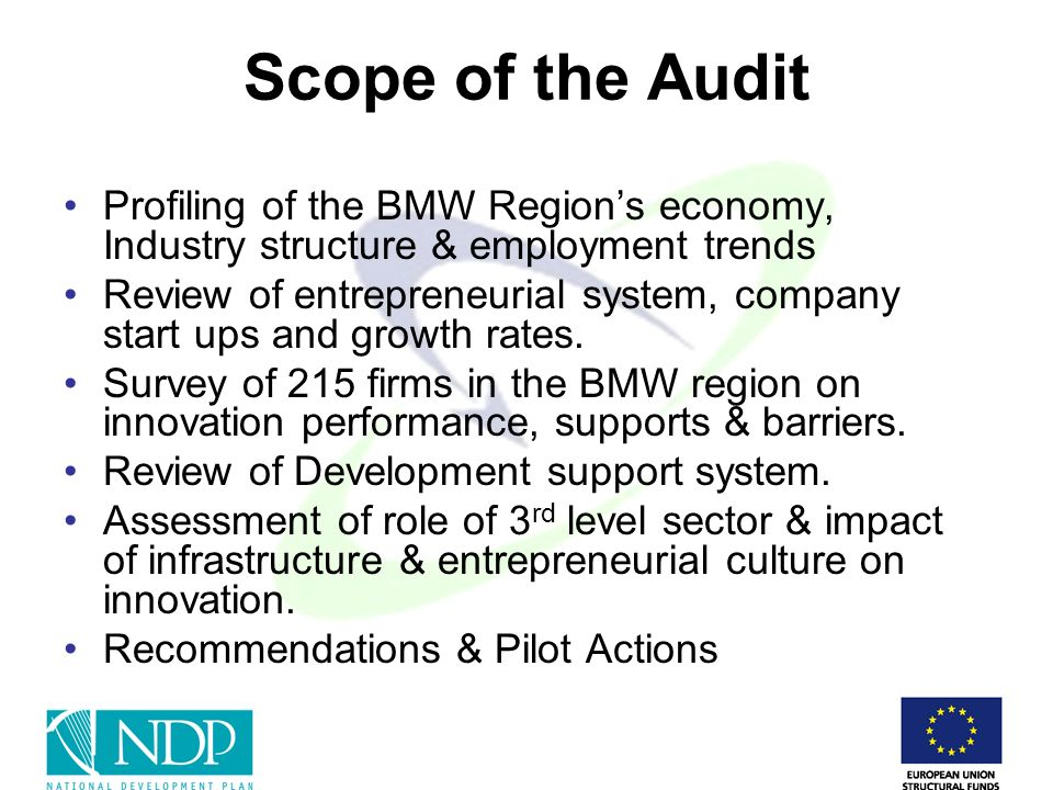 Scope of the Audit Profiling of the BMW Regions economy, Industry structure & employment trends Review of entrepreneurial system, company start ups and growth rates.