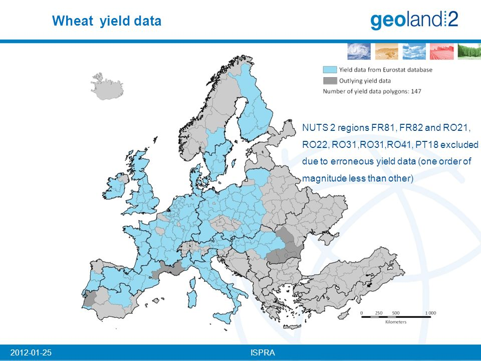 ISPRA2012-01-25 NUTS 2 regions FR81, FR82 and RO21, RO22, RO31,RO31,RO41, PT18 excluded due to erroneous yield data (one order of magnitude less than other) Wheat yield data