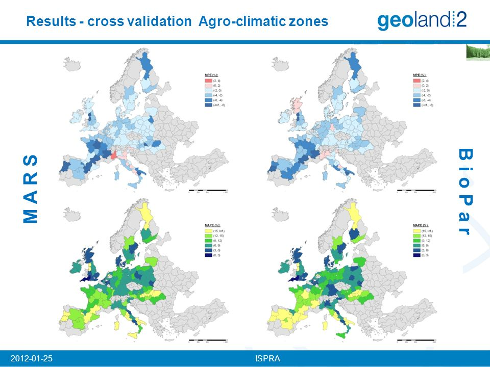 ISPRA2012-01-25 Results - cross validation Agro-climatic zones B i o P a r M A R S