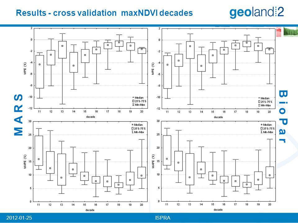 ISPRA2012-01-25 Results - cross validation maxNDVI decades B i o P a r M A R S