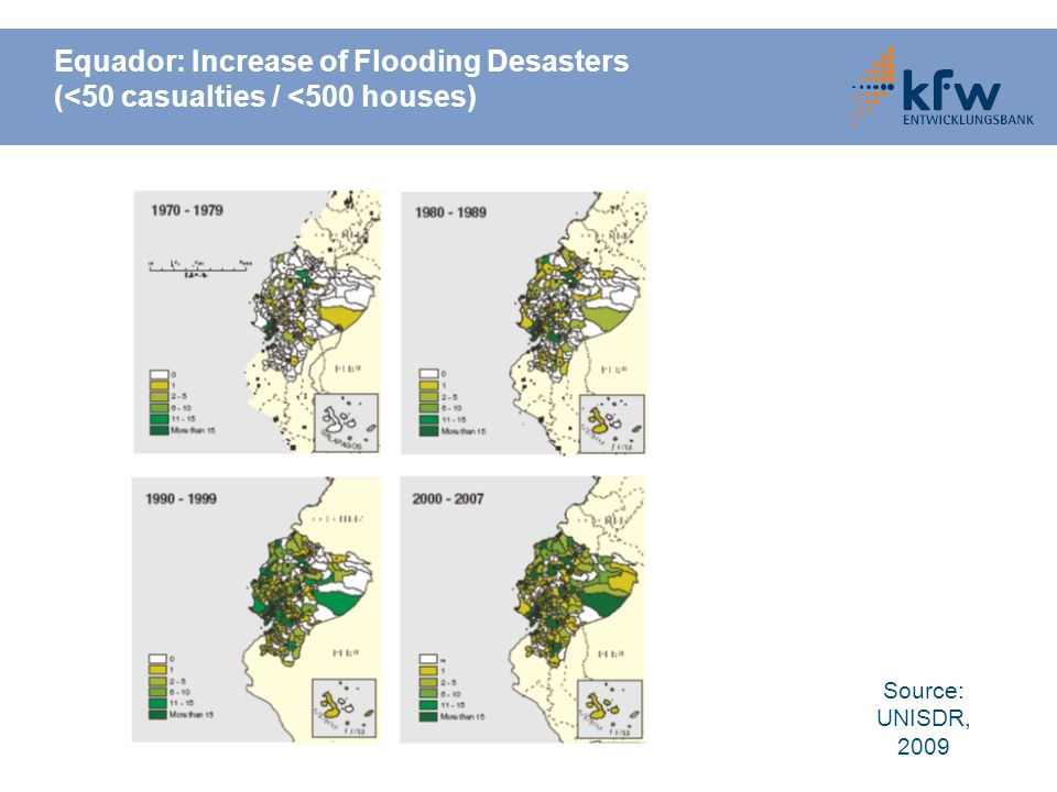 Equador: Increase of Flooding Desasters (<50 casualties / <500 houses) Source: UNISDR, 2009