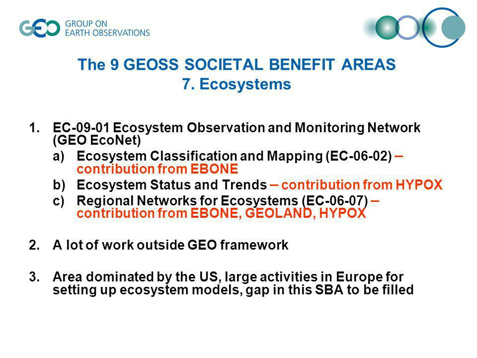 The 9 GEOSS SOCIETAL BENEFIT AREAS 7.