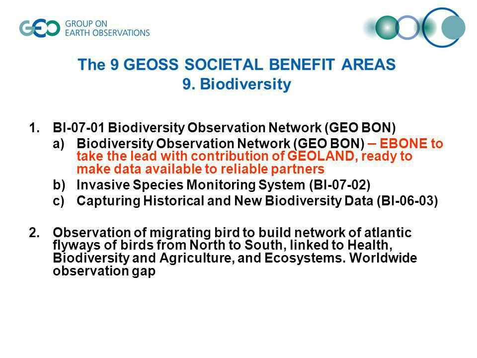 The 9 GEOSS SOCIETAL BENEFIT AREAS 9.