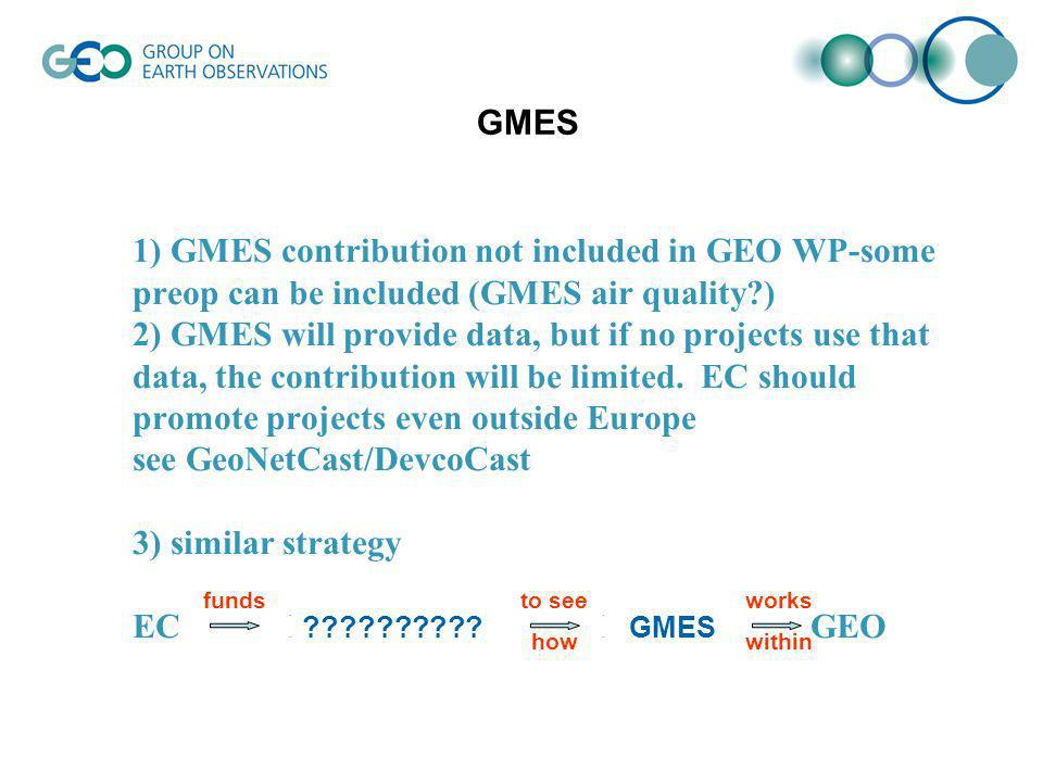 1) GMES contribution not included in GEO WP-some preop can be included (GMES air quality?) 2) GMES will provide data, but if no projects use that data, the contribution will be limited.