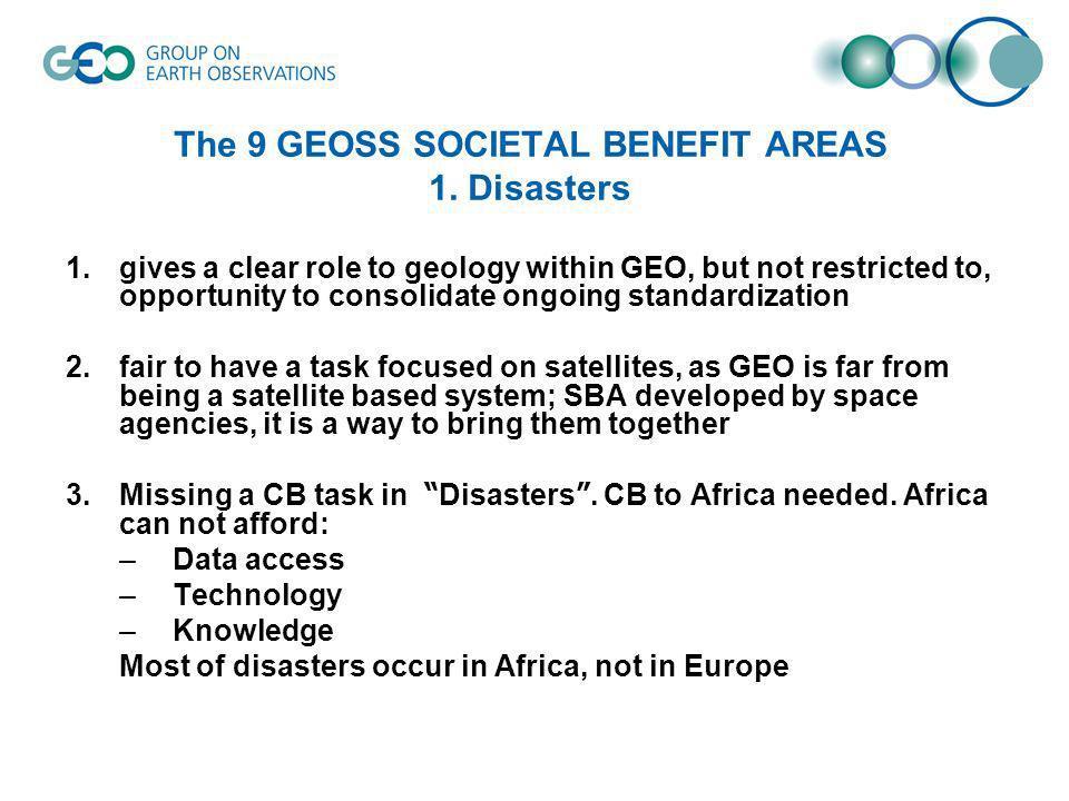 The 9 GEOSS SOCIETAL BENEFIT AREAS 2.