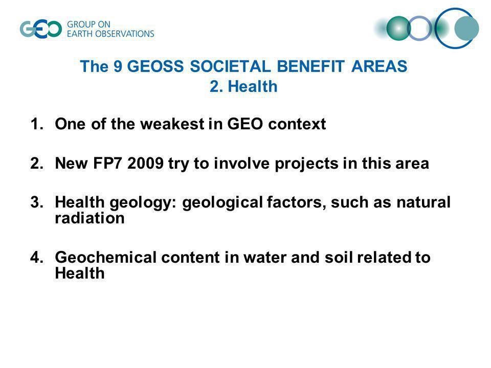 The 9 GEOSS SOCIETAL BENEFIT AREAS 3.