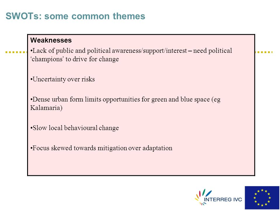SWOTs: some common themes Strengths Good level of climate change expertise available Increasing regulation/legislation/policy/non-statutory docs on relevant issues (eg flood risk/sustainable design) European Resea rch programmes to enhance knowledge and exchange of information on climate change issues Increased cooperation/coordination between officers/departments and external agencies/environmental organisations