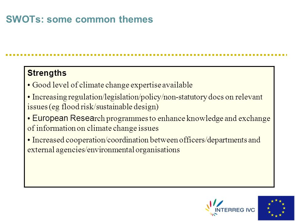 SWOTs: some common themes Opportunities Revision/renewal of plans (spatial planning/climate change) allows integration of adaptation policy Improving stakeholder/community networks Use of variety of hooks for adaptation due to multifunctional nature of green and blue space, eg attractiveness for tourism / economic competitiveness EU Directives as levers e.g.