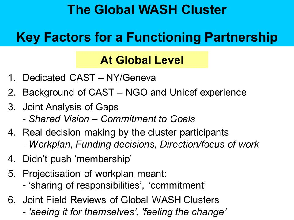 The Global WASH Cluster Key Factors for a Functioning Partnership 1.Dedicated CAST – NY/Geneva 2.Background of CAST – NGO and Unicef experience 3.Joint Analysis of Gaps - Shared Vision – Commitment to Goals 4.Real decision making by the cluster participants - Workplan, Funding decisions, Direction/focus of work 4.Didnt push membership 5.Projectisation of workplan meant: - sharing of responsibilities, commitment 6.Joint Field Reviews of Global WASH Clusters - seeing it for themselves, feeling the change At Global Level