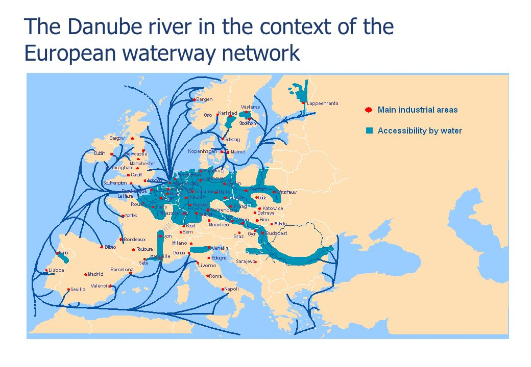 © via donau I 4 The Danube river in the context of the European waterway network Trieste