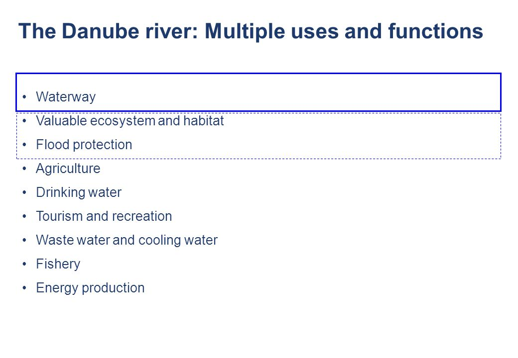 © via donau I 6 The Danube river: Multiple uses and functions Waterway Valuable ecosystem and habitat Flood protection Agriculture Drinking water Tour