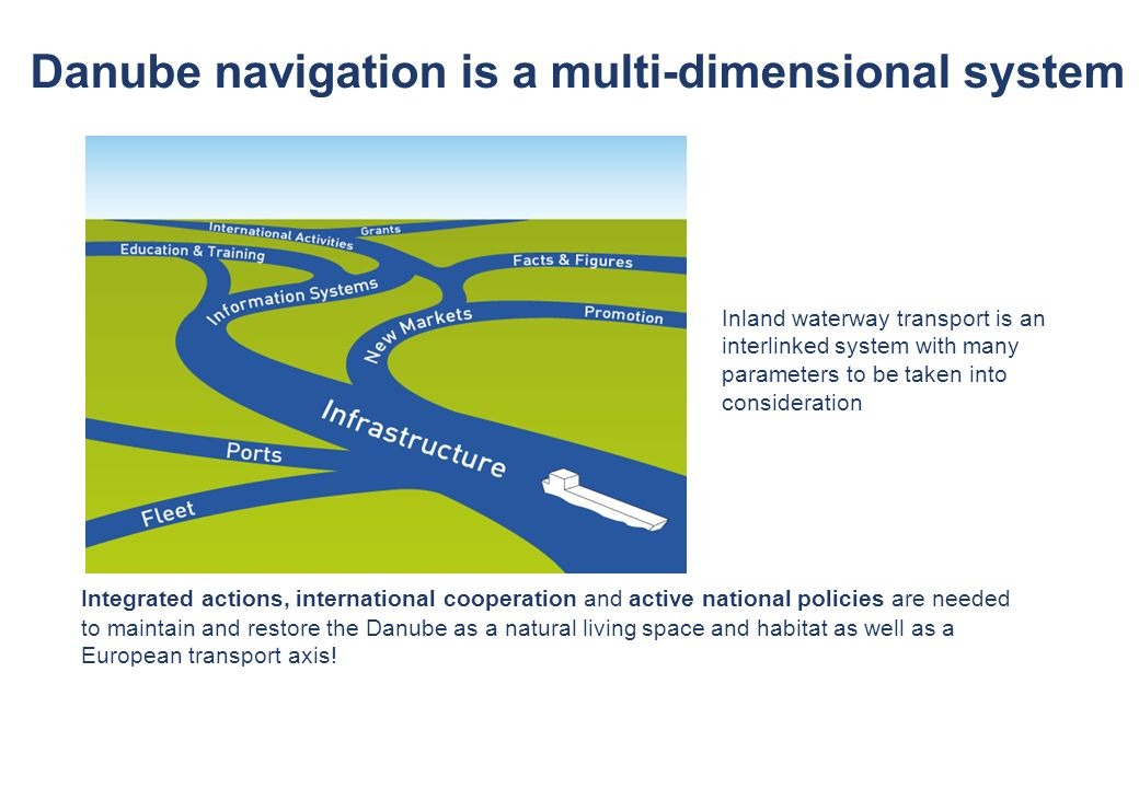 © via donau I 8 Danube navigation is a multi-dimensional system Inland waterway transport is an interlinked system with many parameters to be taken in