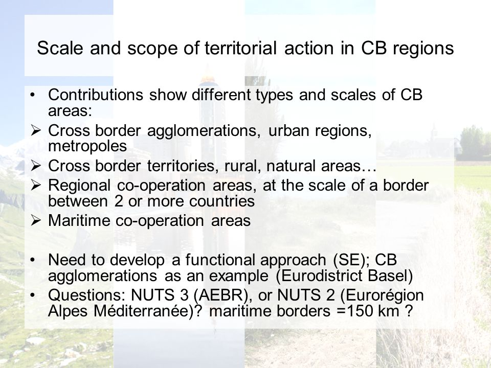 Scale and scope of territorial action in CB regions Contributions show different types and scales of CB areas: Cross border agglomerations, urban regions, metropoles Cross border territories, rural, natural areas… Regional co-operation areas, at the scale of a border between 2 or more countries Maritime co-operation areas Need to develop a functional approach (SE); CB agglomerations as an example (Eurodistrict Basel) Questions: NUTS 3 (AEBR), or NUTS 2 (Eurorégion Alpes Méditerranée).