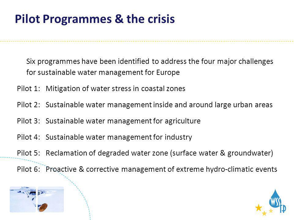 Integration - Pilots Pilot Programmes & the crisis Six programmes have been identified to address the four major challenges for sustainable water mana