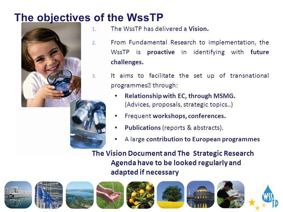 The objectives of the WssTP 1. The WssTP has delivered a Vision. 2. From Fundamental Research to implementation, the WssTP is proactive in identifying