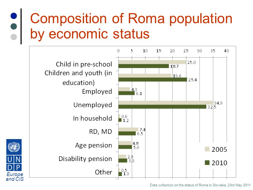 Europe and CIS Data collection on the status of Roma in Slovakia, 23rd May 2011 Composition of Roma population by economic status