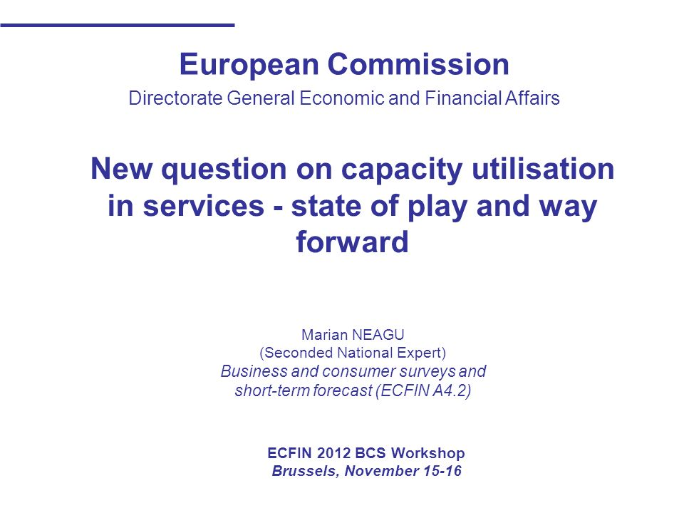 European Commission Directorate General Economic and Financial Affairs New question on capacity utilisation in services - state of play and way forwar