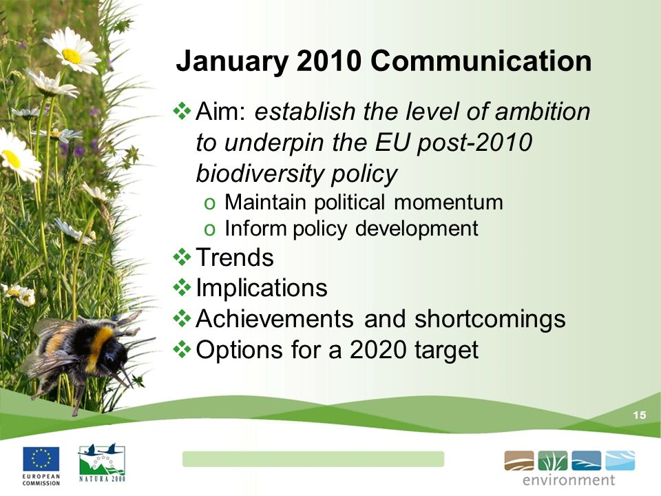 15 January 2010 Communication Aim: establish the level of ambition to underpin the EU post-2010 biodiversity policy oMaintain political momentum oInfo