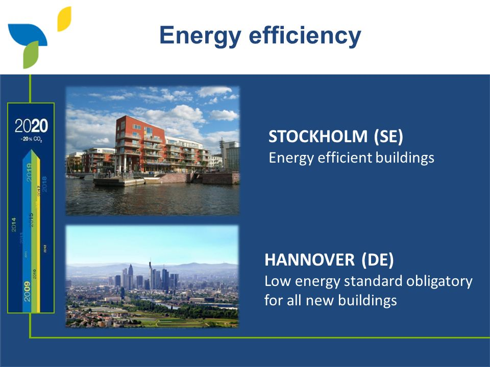 Energy efficiency STOCKHOLM (SE) Energy efficient buildings HANNOVER (DE) Low energy standard obligatory for all new buildings