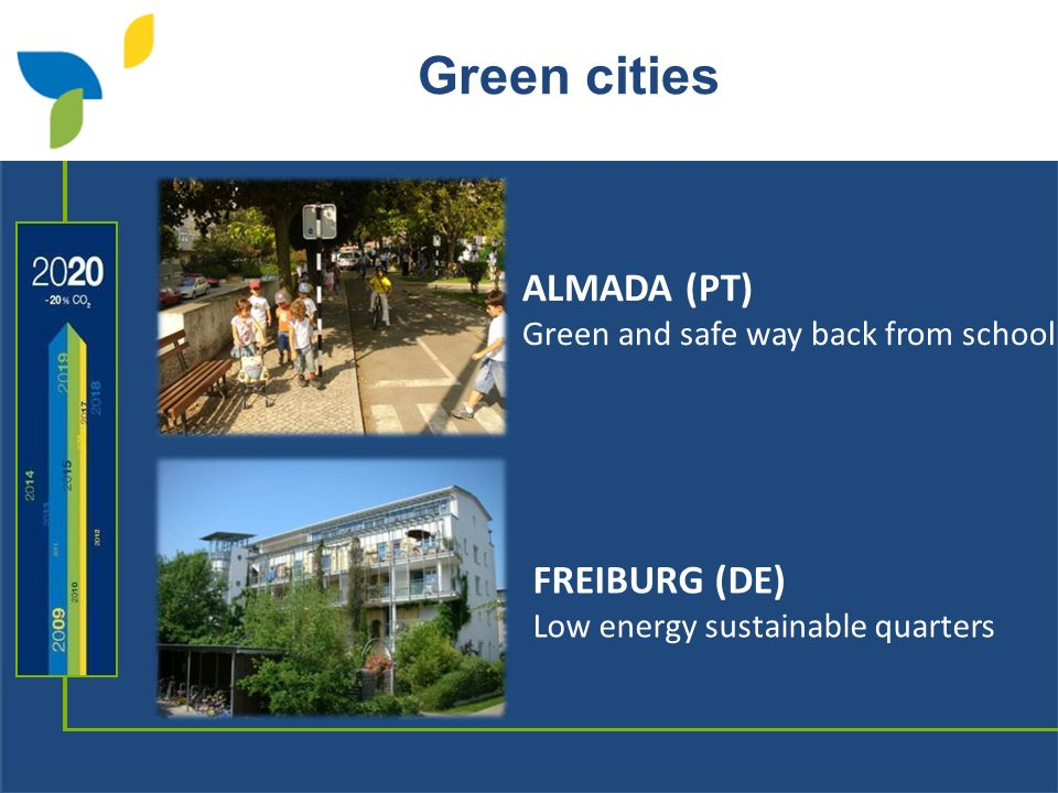 Green cities FREIBURG (DE) Low energy sustainable quarters ALMADA (PT) Green and safe way back from school
