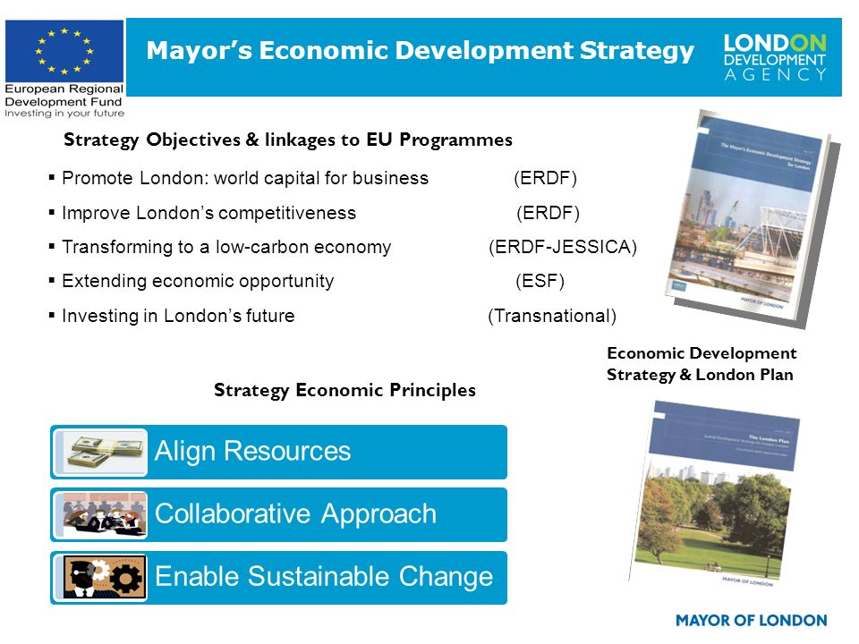 3 Strategy Economic Principles Align Resources Collaborative Approach Enable Sustainable Change Promote London: world capital for business (ERDF) Impr