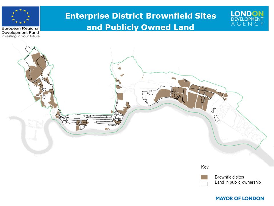 6 Key Brownfield sites Land in public ownership Enterprise District Brownfield Sites and Publicly Owned Land