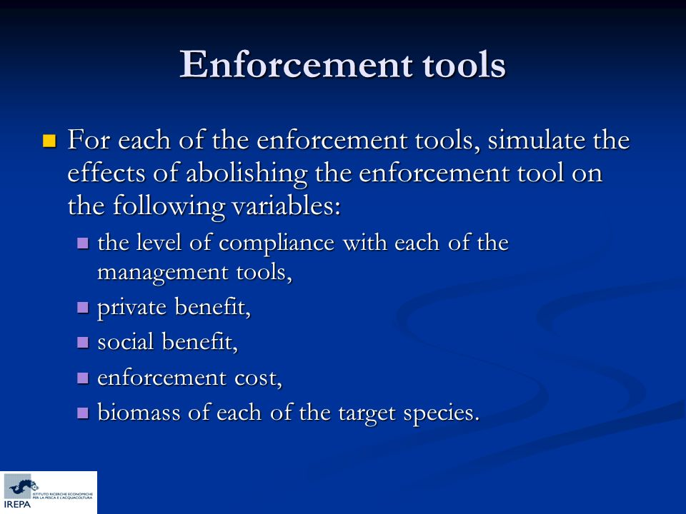 Enforcement tools For each of the enforcement tools, simulate the effects of abolishing the enforcement tool on the following variables: For each of t