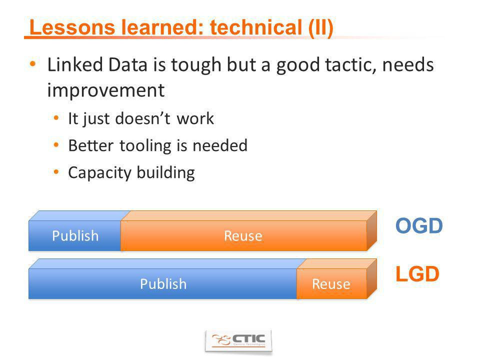 Lessons learned: technical (II) Linked Data is tough but a good tactic, needs improvement It just doesnt work Better tooling is needed Capacity building Publish Reuse Publish Reuse OGD LGD