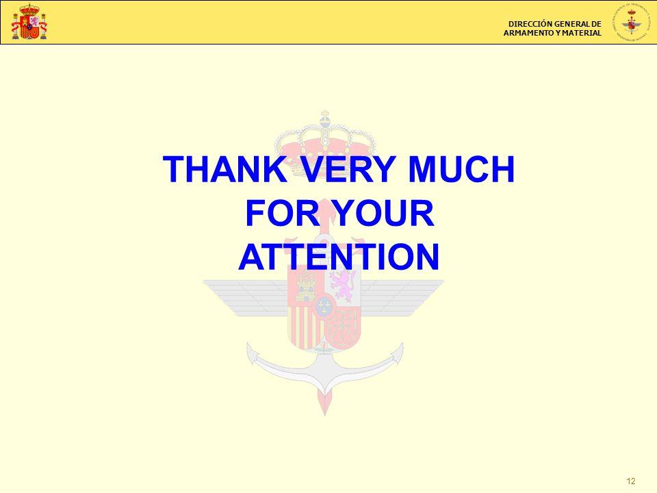 DIRECCIÓN GENERAL DE ARMAMENTO Y MATERIAL THANK VERY MUCH FOR YOUR ATTENTION 12