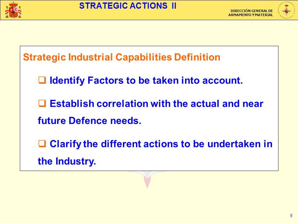 DIRECCIÓN GENERAL DE ARMAMENTO Y MATERIAL 8 STRATEGIC ACTIONS II Strategic Industrial Capabilities Definition Identify Factors to be taken into account.