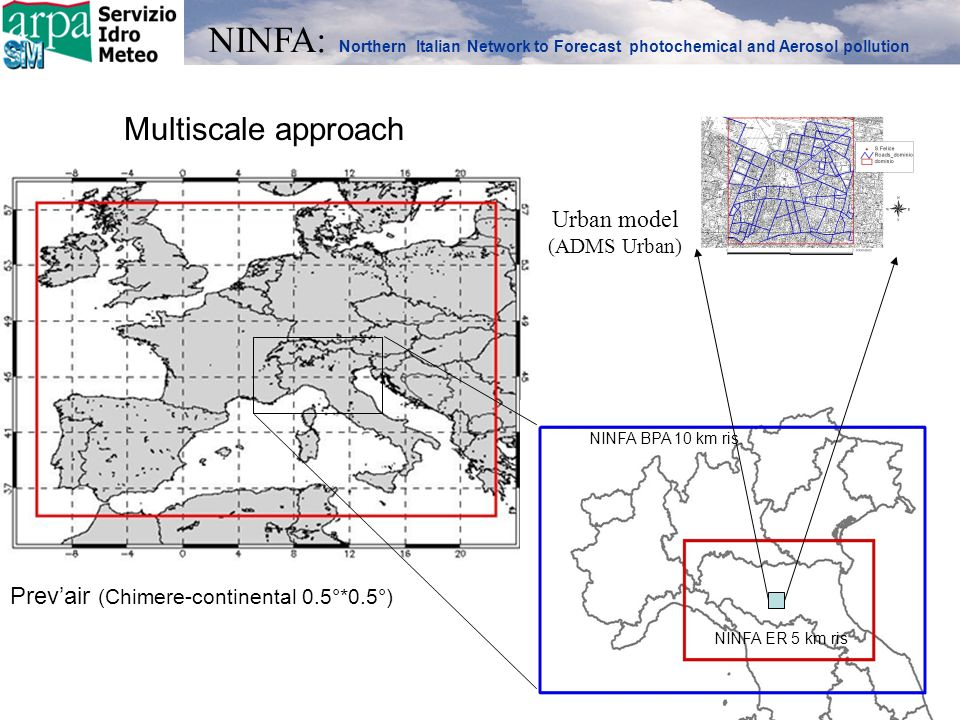 NINFA (ER-Chimere-regional-Po valley domain) Prevair (Chimere-continental-Europe-domain) CORINAIR 2000 (COVN ton/anno) Input meteo COSMO-IT Boundary conditions from PrevAir The model domain has an extension of 640 km x 410 km, 10 km horizontal resolution, with eight vertical levels up to a height of 5000 m.