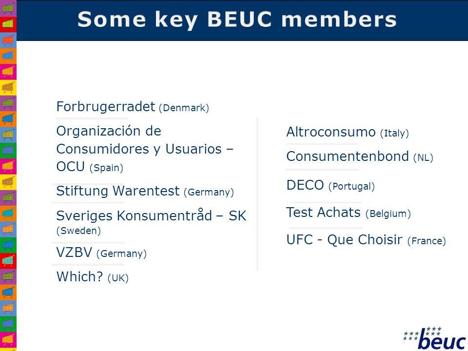 Forbrugerradet (Denmark) Organización de Consumidores y Usuarios – OCU (Spain) Stiftung Warentest (Germany) Sveriges Konsumentråd – SK (Sweden) VZBV (