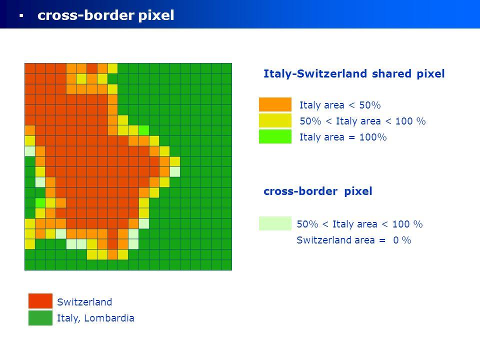 cross-border pixel Switzerland Italy, Lombardia Italy-Switzerland shared pixel Italy area < 50% 50% < Italy area < 100 % Italy area = 100% cross-border pixel 50% < Italy area < 100 % Switzerland area = 0 %