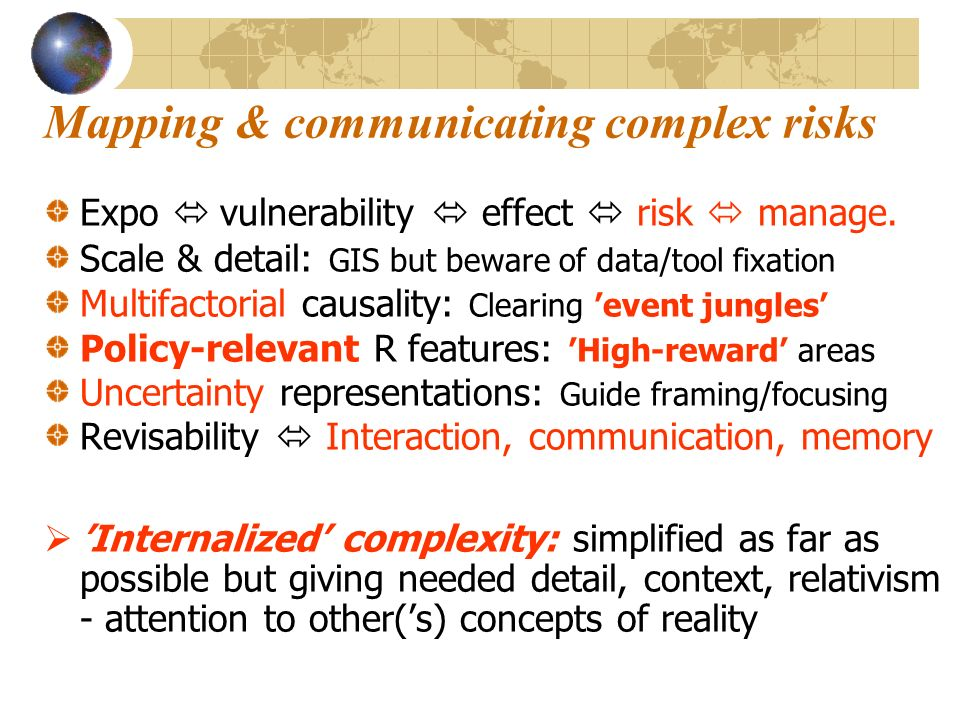 Mapping & communicating complex risks Expo vulnerability effect risk manage.