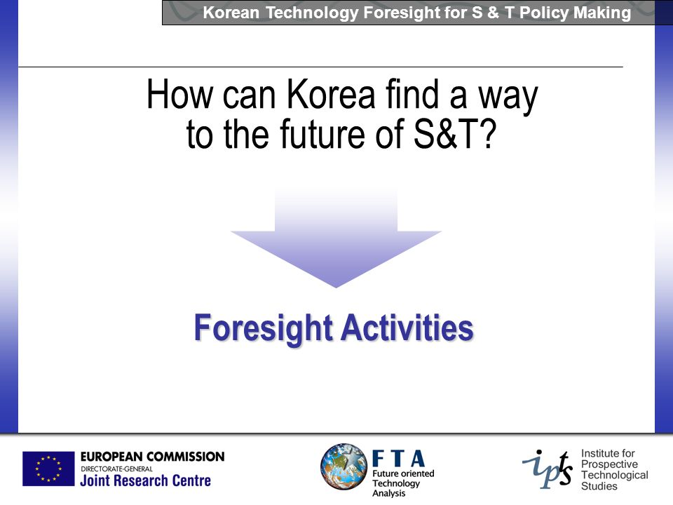 Korean Technology Foresight for S & T Policy Making How can Korea find a way to the future of S&T? Foresight Activities