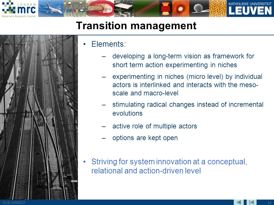 14 KVA/v090527 Transition management Elements: –developing a long-term vision as framework for short term action experimenting in niches –experimentin