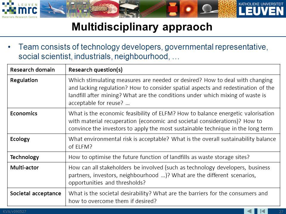 27 KVA/v090527 Multidisciplinary appraoch Team consists of technology developers, governmental representative, social scientist, industrials, neighbou