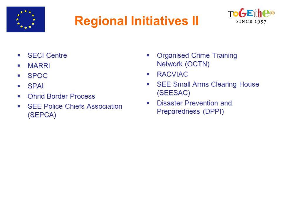 Regional Initiatives II SECI Centre SECI Centre MARRI MARRI SPOC SPOC SPAI SPAI Ohrid Border Process Ohrid Border Process SEE Police Chiefs Association (SEPCA) SEE Police Chiefs Association (SEPCA) Organised Crime Training Network (OCTN) Organised Crime Training Network (OCTN) RACVIAC RACVIAC SEE Small Arms Clearing House (SEESAC) SEE Small Arms Clearing House (SEESAC) Disaster Prevention and Preparedness (DPPI) Disaster Prevention and Preparedness (DPPI)