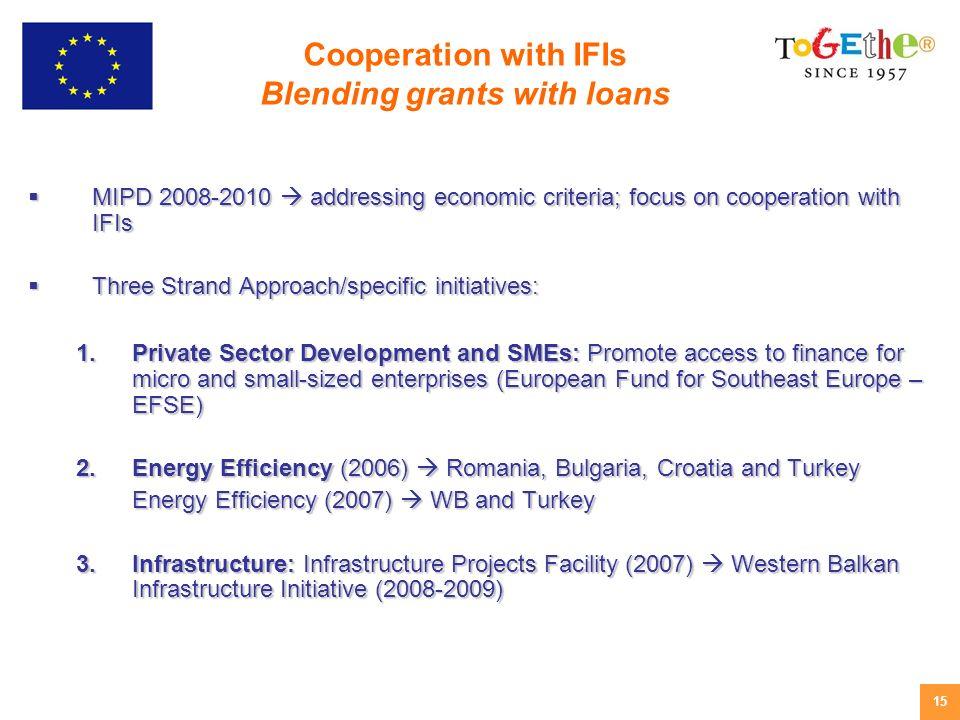 15 MIPD 2008-2010 addressing economic criteria; focus on cooperation with IFIs MIPD 2008-2010 addressing economic criteria; focus on cooperation with