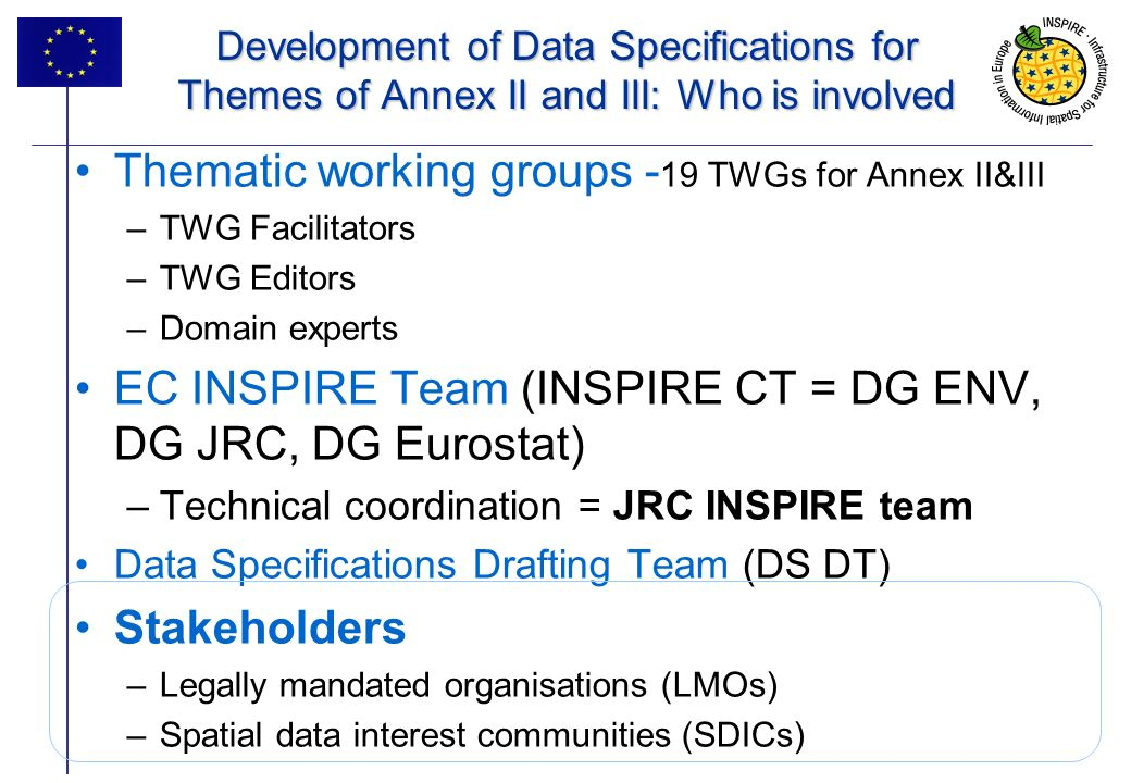 5 Development of Data Specifications for Themes of Annex II and III: Who is involved Thematic working groups - 19 TWGs for Annex II&III –TWG Facilitators –TWG Editors –Domain experts EC INSPIRE Team (INSPIRE CT = DG ENV, DG JRC, DG Eurostat) –Technical coordination = JRC INSPIRE team Data Specifications Drafting Team (DS DT) Stakeholders –Legally mandated organisations (LMOs) –Spatial data interest communities (SDICs)