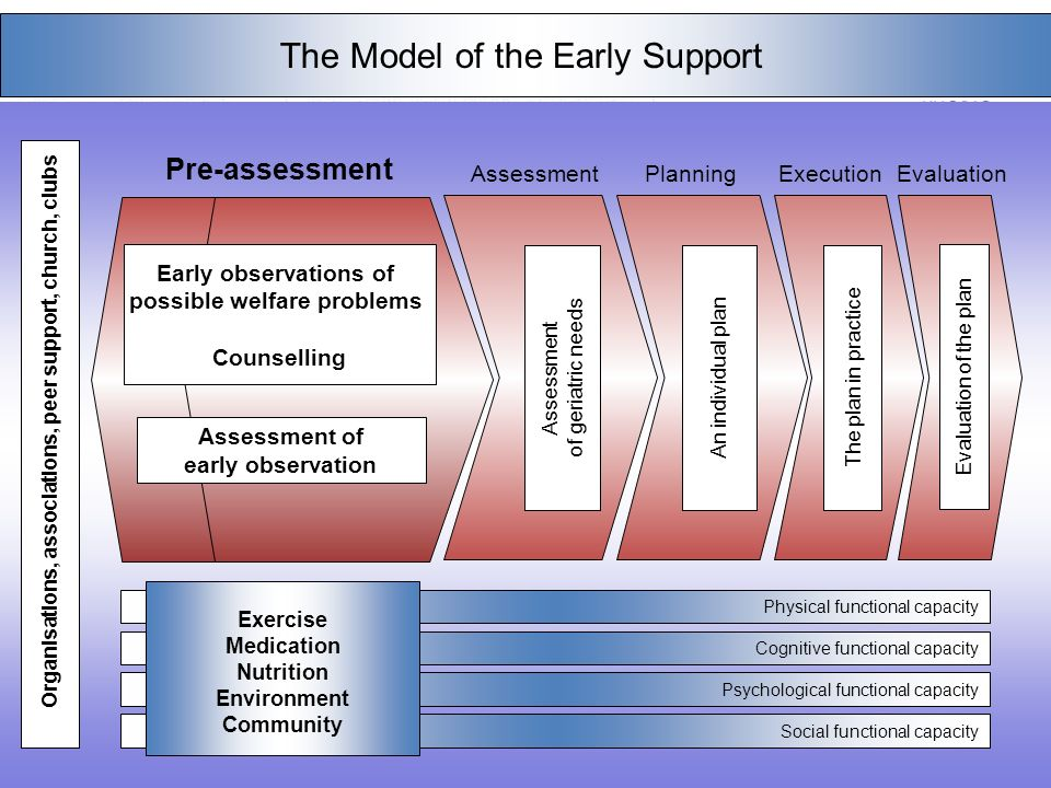 3 Social functional capacity Physical functional capacity Cognitive functional capacity Psychological functional capacity The Model of the Early Support An individual plan Evaluation of the plan Exercise Medication Nutrition Environment Community The plan in practice Pre-assessment AssessmentExecutionEvaluation Organisations, associations, peer support, church, clubs Early observations of possible welfare problems Counselling Planning Assessment of geriatric needs Assessment of early observation Early observations of possible welfare problems Counselling Assessment of early observation