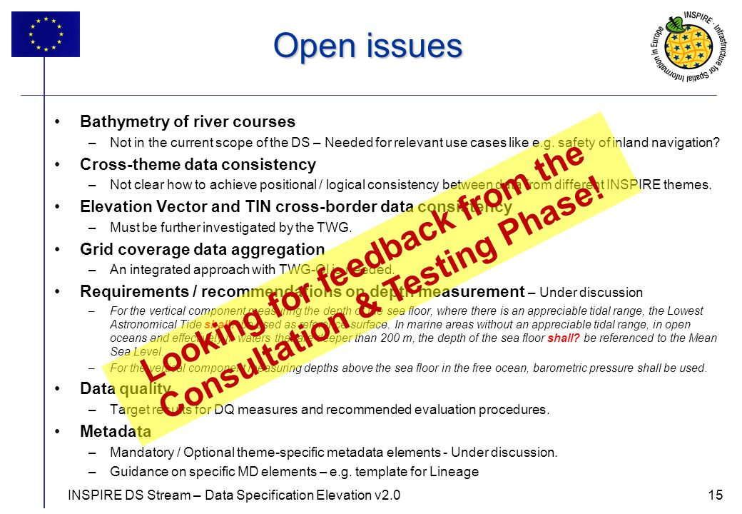 15 Open issues Bathymetry of river courses –Not in the current scope of the DS – Needed for relevant use cases like e.g.