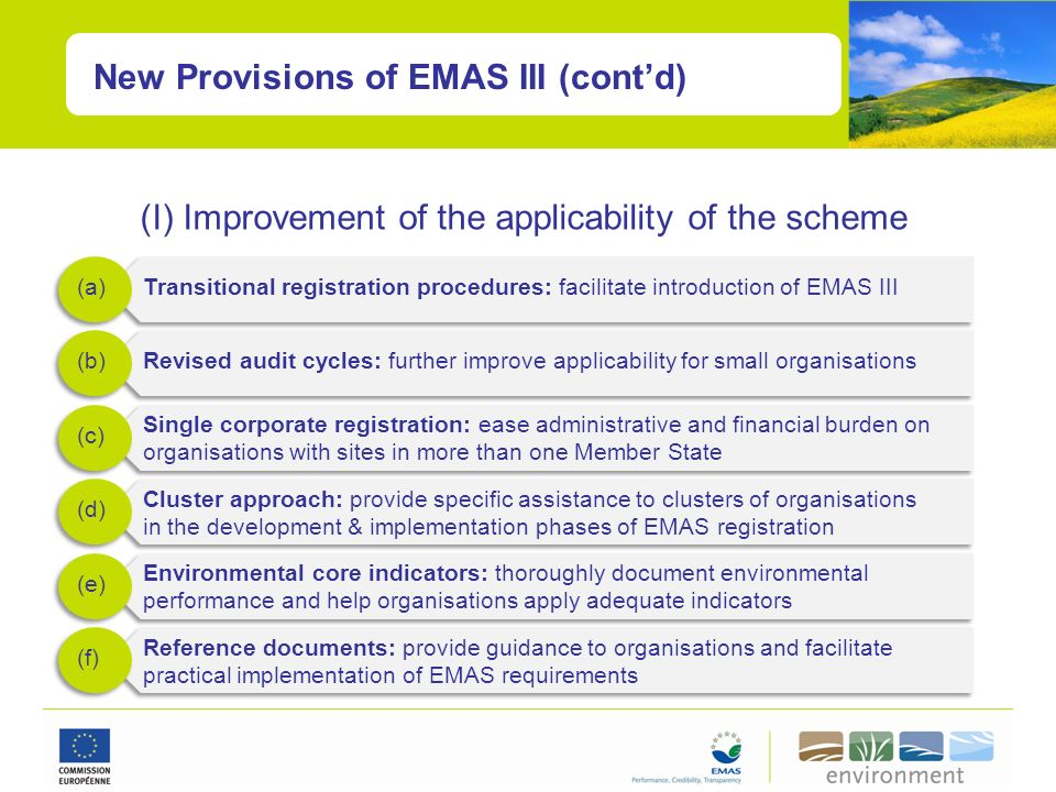 New Provisions of EMAS III (contd) (I) Improvement of the applicability of the scheme Transitional registration procedures: facilitate introduction of