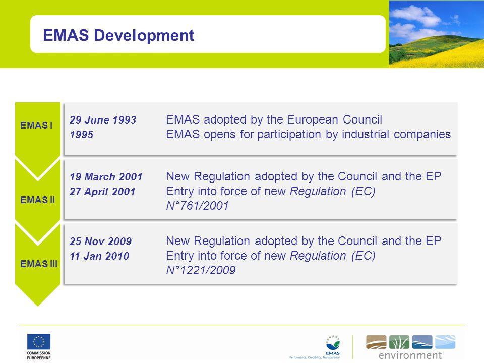 EMAS Development EMAS I EMAS II EMAS III 29 June 1993 EMAS adopted by the European Council 1995 EMAS opens for participation by industrial companies 1