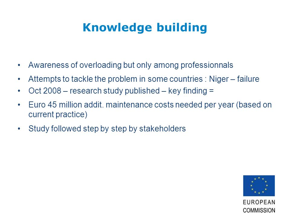 Knowledge building Awareness of overloading but only among professionnals Attempts to tackle the problem in some countries : Niger – failure Oct 2008 – research study published – key finding = Euro 45 million addit.